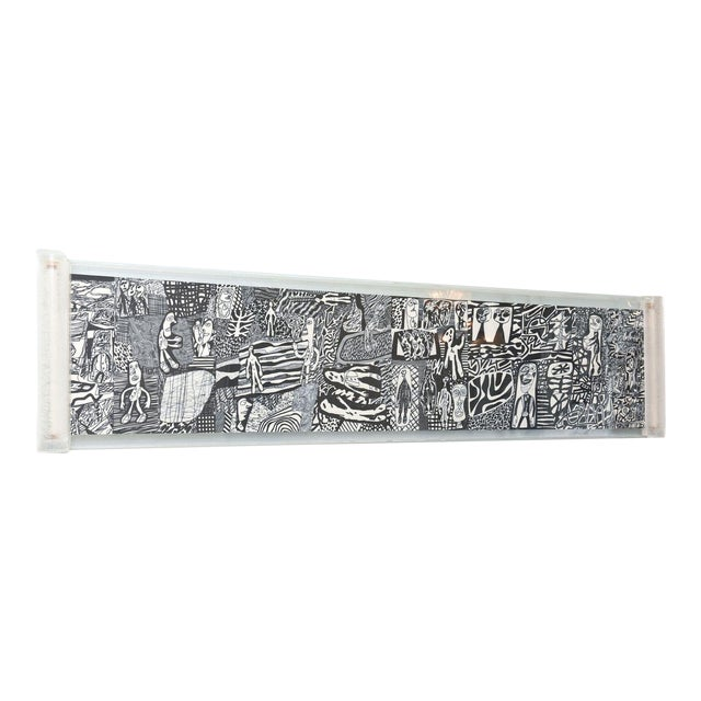 "Rare Jean Dubuffet Monochrome Silkscreen Mural on Paper Scroll, ""Parcours"" - Image 1 of 11"