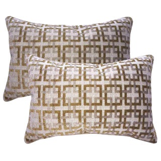 Belgian Epingle Raised Velvet Accent Pillows - A Pair