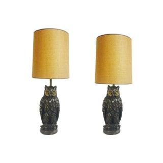 Pair of Vintage Owl Lamps