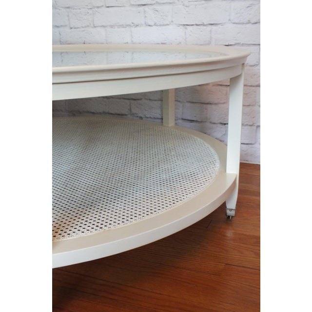 Mid-Century Round White Caned Coffee Table - Image 10 of 11