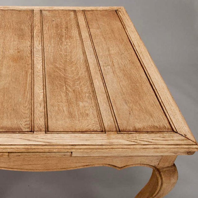 French Bleached Oak Table with Self Storing Leaves - Image 5 of 9