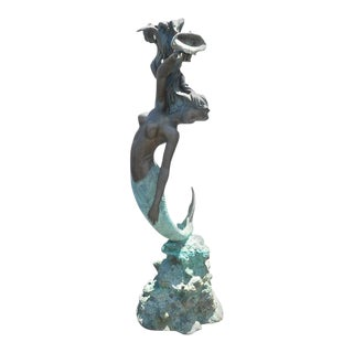 Bronze Mermaid Fountain With Flowing Hair