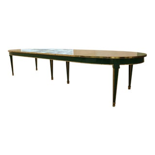 Louis XVI Style Dining Table, Maison Jansen, Apple Green Lacquer and Brass