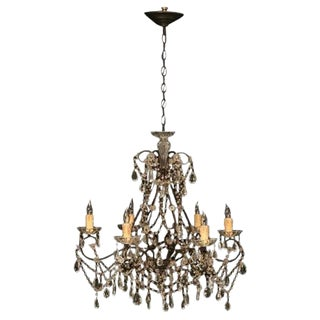 Vintage Italian Gilt Crystal & Beaded 6 Light Chandelier