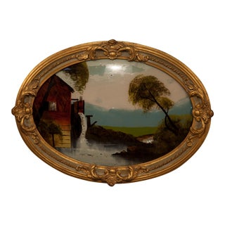 Oval Framed Painting With Mother Pearl Detail
