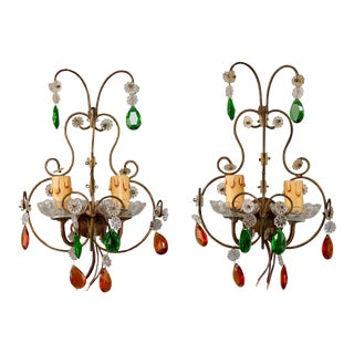 Pair Italian Two Light Metal Wall Sconces