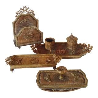 Copper/Brass Desk Set - 4 Pieces