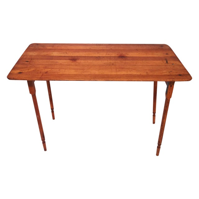 Image of American Primitive Wooden Sewing Table