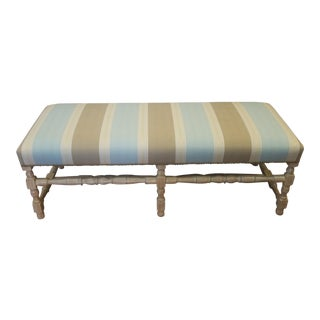 Brunschwig & Fils Upholstered Country Style Turned Leg Bench