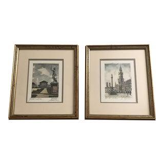 Framed Scenic European Prints - A Pair