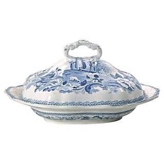 Antique Opaque China Blue & White Tureen