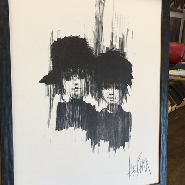 "Image of Lee Burr Mid-Century ""Two Girls"" Print"