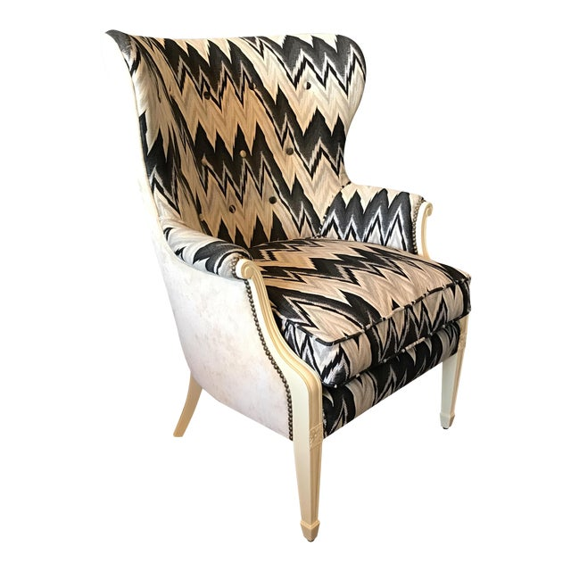Image of Custom Brass Tacked Wingback Chair