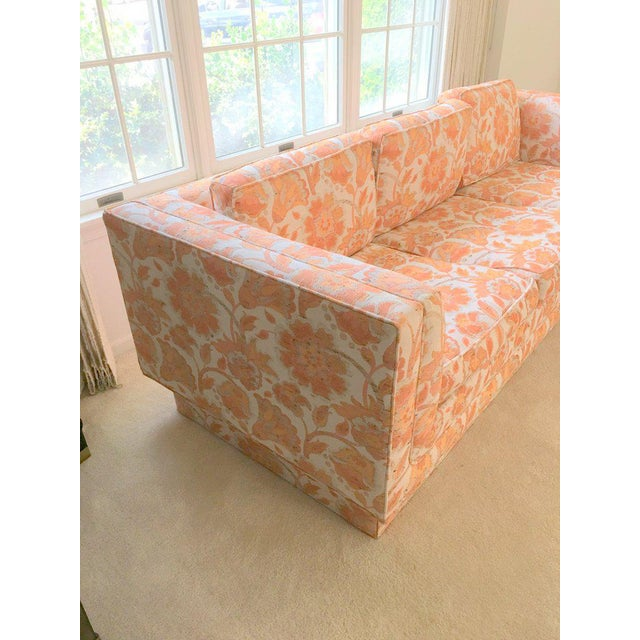 Mid Century Modern Milo Baughman Style Orange Indian Print Upholstery Plinth Base Sofa - Image 6 of 9
