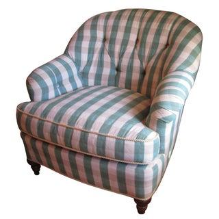 Green Plaid Tufted Club Chair