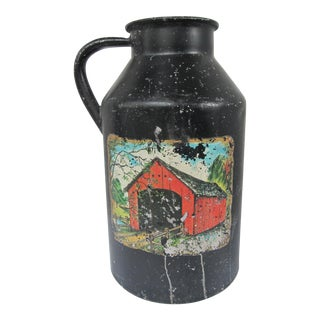 Antique Milk Jug with Red Barn