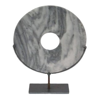 Set of Two Grey/White Stone Disc Sculptures, China, Contemporary