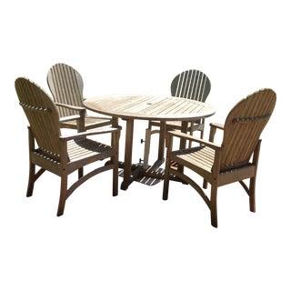Kingsley Bate Essex Round Teak Dining Set - Set of 4