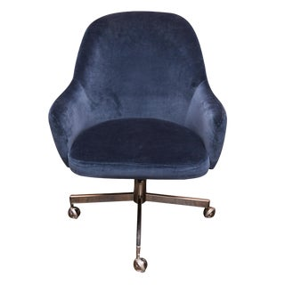 Knoll Desk Chair in Blue Velvet