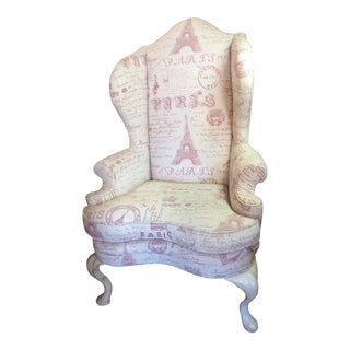 Sculptured Paris Inspired Wingback Chair