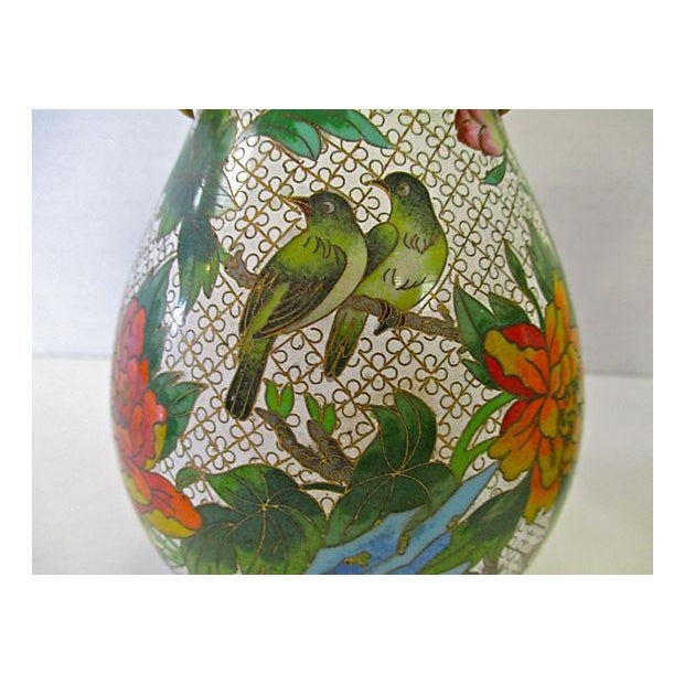 Chinese Colorful Cloisonne Vases - A Pair - Image 4 of 7