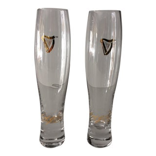 Vintage Guinness Gold Embossed Fluted Glasses- A Pair