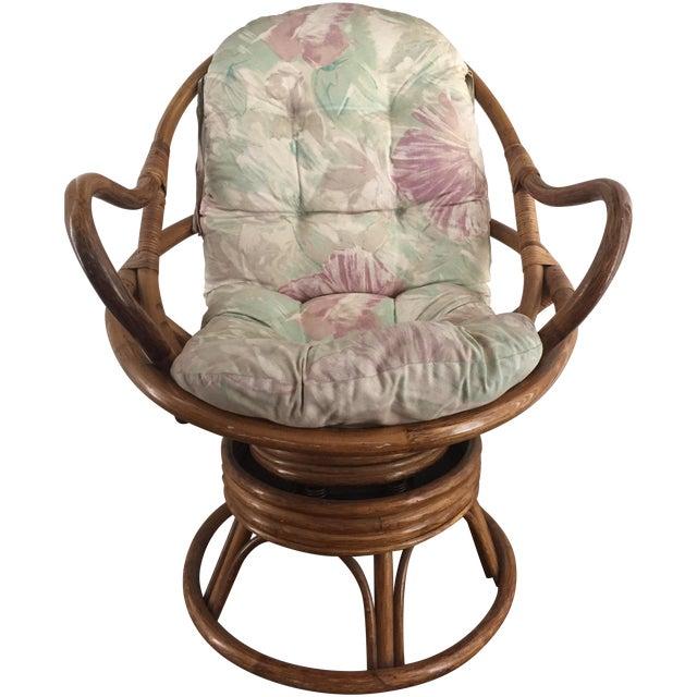 Vintage Rattan Swivel Chair - Image 1 of 10