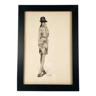 """Woman in Shirt Dress"" Black & White Watercolor"