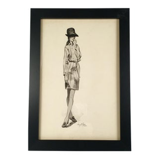 """Woman in Shirt Dress"" Black & White Watercolor"