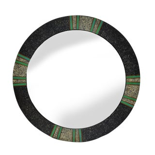 Round Tessellated Wood Mirror Green and Gray