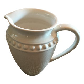 White Ceramic Pitcher With Dot Detail and Handle