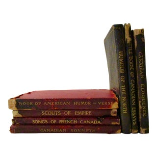 Vintage Leather Poetry Books - Set of 7