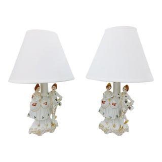 French Painted Porcelain Lamps - A Pair