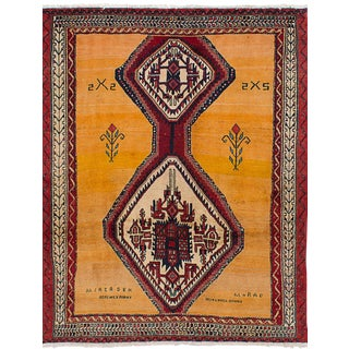 "Vintage Persian Afshar Rug - 4'9"" x 6'3"""