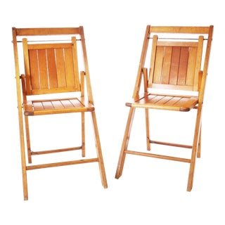 Vintage Rustic Slat Wood Bistro Folding Chairs - A Pair