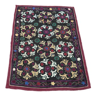 Dark Gray Floral Pattern Antique Suzani Textile