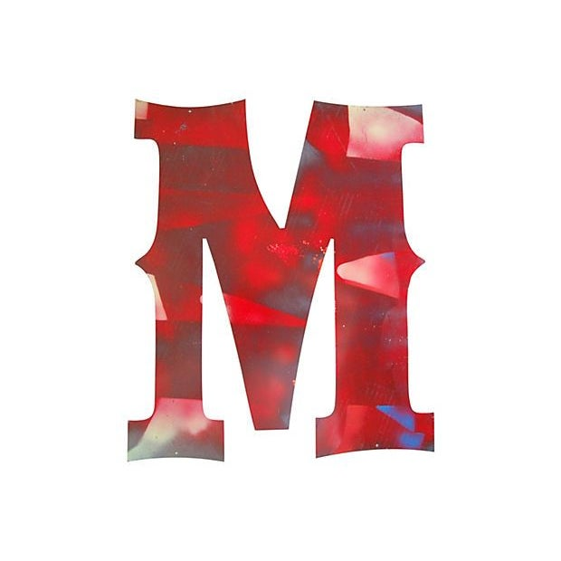 Large Red Metal Marquee Letter M - Image 2 of 2