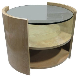 Large Cerused Oak Eclipse Side Table/Nightstand by Jay Spectre
