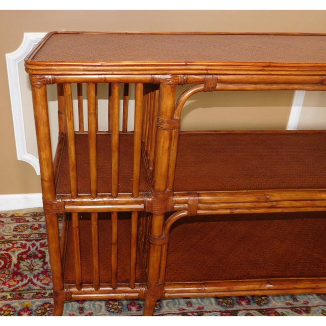 Ethan Allen Rattan Media Console Sofa Table - Image 6 of 9