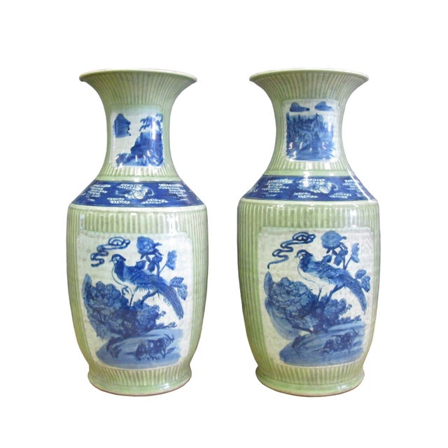 Image of Chinese Porcelain Blue & Green Vases - A Pair