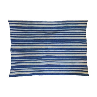 Indigo Blue Striped Throw