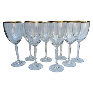 Vintage Gold Rim Crystal Wine Glasses - Set of 8