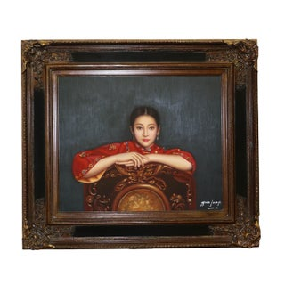 Chinese Woman Portrait Oil Painting by Guo Junyi