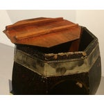 Image of Vintage Chinese Hand Painted Wood Rice Bucket