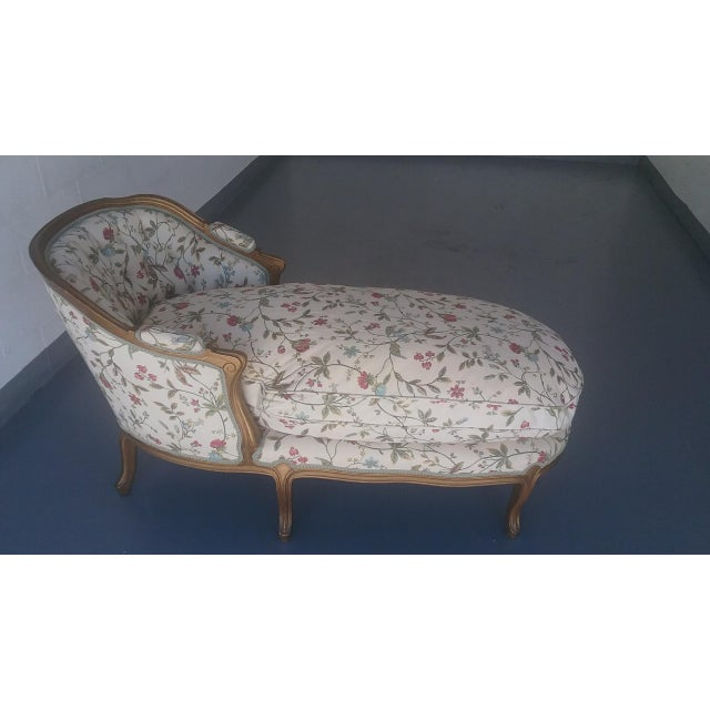 Vintage louis xv style french country chaise lounge chairish for Antique style chaise lounge