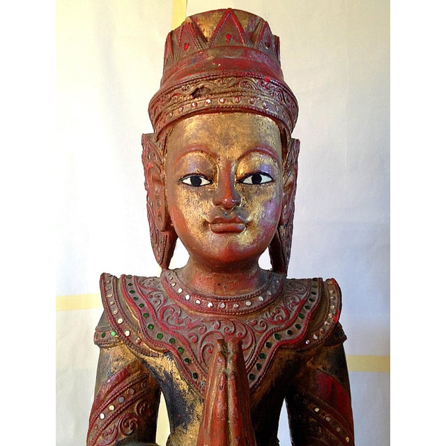 Large Wooden Thai Figure - Image 3 of 10