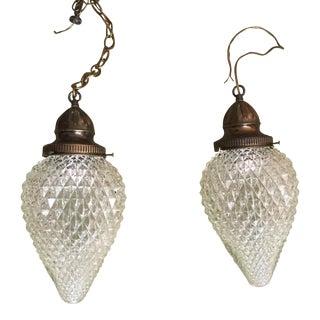 Vintage Cut Glass Tear Drop Pendants - Pair