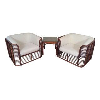 Mid Century Brown Jordan Rattan Chairs & Side Table - Set of 3
