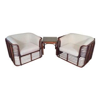 Mid Century Brown Jordan Rattan Chairs & Side Table - Set of 3