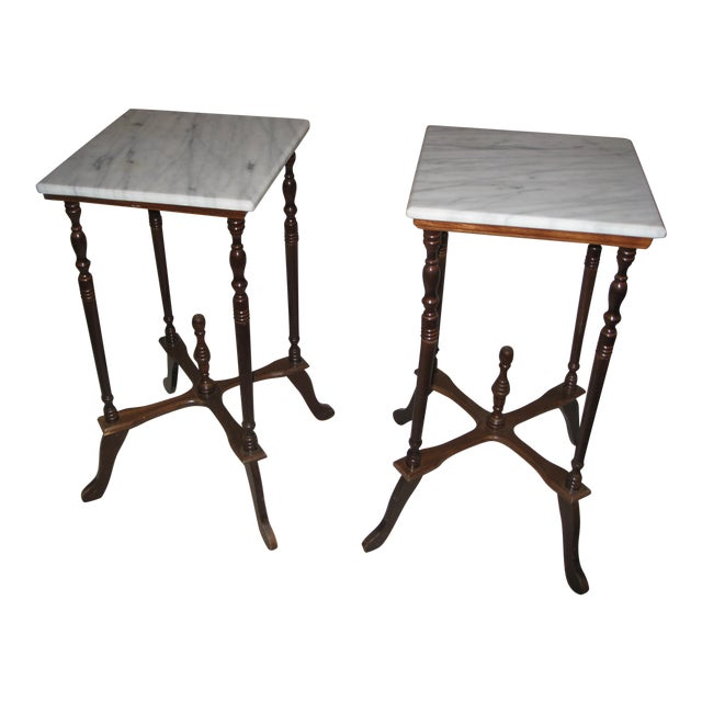 Marble Top Side Tables - A Pair - Image 1 of 4